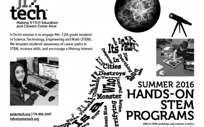 Jr.Tech offers 2016 Summer hands-on STEAM camps in July and August with help from National Grid and the Verizon Foundation.